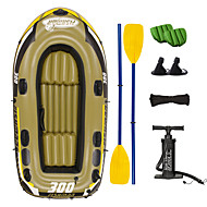 JiLong 3-4 personer Oppusteligt bådsæt med Håndluftpumpe, Air Pad, Franske årer PVC Bærbar foldning Fiskeri / Sejlsport 252*125*40 cm