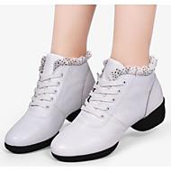 billige Dansesneakers-Dame Dansesko Nappa Lær Joggesko Kubansk hæl Dansesko Hvit / Svart / Mørkerød / Ytelse / Trening