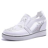baratos Sapatos Femininos-Mulheres Sapatos Couro Ecológico Verão Conforto Tênis Salto Plataforma Ponta Redonda Branco / Prateado