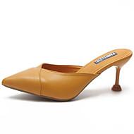 preiswerte -Damen Schuhe PU Sommer Fersenriemen Cloggs & Pantoletten Walking Kitten Heel-Absatz Spitze Zehe Beige / Gelb / Fuchsia