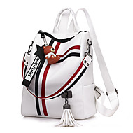 cheap High School Bags-Women's Bags PU(Polyurethane) Backpack Sashes / Ribbons White / Black