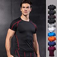 Herre Basale Kompressions T-Shirt - Sort / Rød, Grøn / Sort, Bourgogne Sport Helfarve Spandex T-Shirt Løb, Fitness, Træningscenter Kortærmet Sportstøj Hurtigtørrende, Åndbart, Komprimering Høj