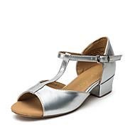 billige Sko til latindans-Jente Sko til latindans / Moderne sko Sateng Flate / Joggesko Tykk hæl Dansesko Gull / Sølv