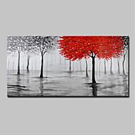 billiga Blom-/växtmålningar-Hang målad oljemålning HANDMÅLAD - Landskap / Blommig / Botanisk Moderna Utan innerram / Valsad duk