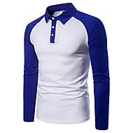 Heren Standaard Patchwork Polo Kleurenblok Overhemdkraag Zwart & Wit Zwart L / Lange mouw