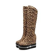 baratos Sapatos Femininos-Mulheres Sapatos Sintéticos Outono & inverno Botas da Moda Botas Salto Plataforma Ponta Redonda Botas Cano Médio Gliter com Brilho Preto / Vinho / Leopardo
