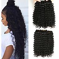 3 Bundler Brasiliansk hår Deep Curly Menneskehår Gaver / Hovedstykke / Udvidelse 8-28 inch Menneskehår Vævninger Maskinproduceret Vævet / Bedste kvalitet / Hot Salg Sort Naturlig Farve Menneskehår