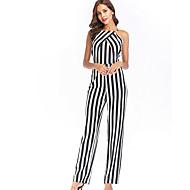 קיץ ללא שרוולים L XL XXL דפוס פסים, סרבלים רזה ישר שחור קולר בסיסי בגדי ריקוד נשים