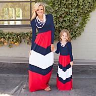 Børn / Baby Mommy og mig Blomstret / Farveblok Langærmet Overall og jumpsuit
