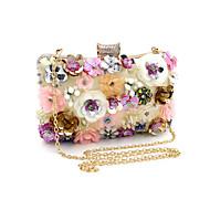 女性用 バッグ ポリエステル イブニングバッグ パール装飾 / フラワー フラワープリント ゴールド