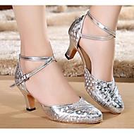 billige Moderne sko-Dame Moderne sko Syntetisk Høye hæler Slim High Heel Dansesko Gull / Sølv / Rød