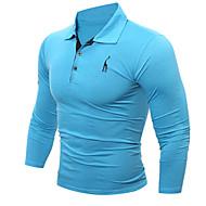 Hombre Deportes Camisa, Cuello Camisero Un Color Blanco XL / Manga Larga