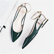 baratos Sapatos Femininos-Mulheres Sapatos Pele de Carneiro Primavera / Outono Conforto Sandálias Salto Baixo Dedo Apontado Preto / Verde