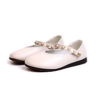 baratos Sapatos de Menina-Para Meninas Sapatos Couro Ecológico Primavera & Outono Sapatos para Daminhas de Honra Rasos Caminhada Presilha para Infantil Branco / Preto / Rosa claro