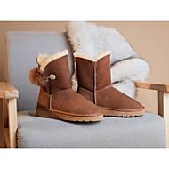 baratos Sapatos Femininos-Mulheres Sapatos Pele de Carneiro Inverno Conforto Botas Sem Salto Preto / Castanho Claro / Rosa Claro