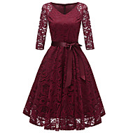 cheap -Women's Party Going out Vintage 1950s A Line Dress Lace Bow V Neck Fall Navy Blue Gray Wine XL XXL XXXL