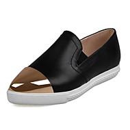 baratos Sapatos Femininos-Mulheres Sapatos Pele Napa Primavera / Outono Conforto Mocassins e Slip-Ons Sem Salto Dedo Apontado Lantejoulas Branco / Preto / Vermelho