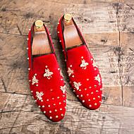 baratos Sapatos Masculinos-Homens Sapatos formais Camurça Outono & inverno Mocassins e Slip-Ons Preto / Vermelho / Casamento / Festas & Noite
