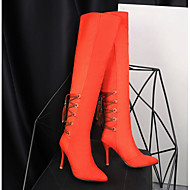 cheap -Women's PU(Polyurethane) Winter Comfort / Fashion Boots Boots Chunky Heel Over The Knee Boots Black / Orange / Light Brown