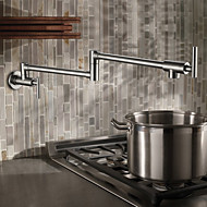Kitchen Faucet   Traditional Nickel Brushed Pot Filler Wall Mounted / Two  Handles One Hole