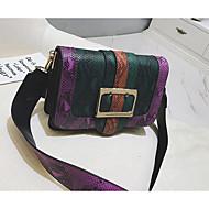 baratos Bolsas de Ombro-Mulheres Bolsas PU Bolsa de Ombro Botões Crocodilo Azul / Verde / Rosa