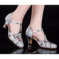 billige Moderne sko-Dame Moderne sko Syntetisk Høye hæler Tykk hæl Dansesko Gull / Sølv