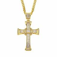 Men's Cubic Zirconia Classic Cuban Link Pendant Necklace Chain Necklace Rhinestone Cross Faith Classic European Hip-Hop Cool Gold Silver 70 cm Necklace Jewelry 1pc For Street Festival