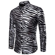 Heren Luxe / Standaard Print Overhemd Feest / Club Gestreept / dier / Lange mouw