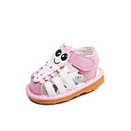 baratos Sapatos de Menina-Para Meninas Sapatos Couro Ecológico Verão Primeiros Passos Sandálias Velcro para Bebê Amarelo / Rosa claro
