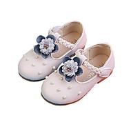 baratos Sapatos de Menina-Para Meninas Sapatos Couro Ecológico Primavera Verão Sapatos para Daminhas de Honra Rasos Caminhada Flor para Infantil Bege / Rosa claro