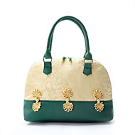 baratos Bolsas Tote-Mulheres Bolsas Tela de pintura Tote Flor Verde / Vermelho