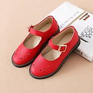 baratos Sapatos de Menina-Para Meninas Sapatos Pele Primavera & Outono Conforto Rasos Vazados para Infantil Branco / Preto / Vermelho