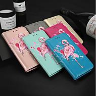 billiga Mobil cases & Skärmskydd-fodral Till Huawei P smart / Enjoy 7S Korthållare / med stativ / Lucka Fodral Flamingo Hårt PU läder för P smart / Huawei Enjoy 7S