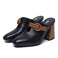 Χαμηλού Κόστους Γυναικεία Τσόκαρα & Μιουλ-Γυναικεία Παπούτσια Νάπα Leather Καλοκαίρι Ανατομικό Σαμπό & Mules Κοντόχοντρο Τακούνι Λευκό / Μαύρο
