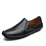 tanie Small Size Shoes-Męskie Komfortowe buty Skóra / Skóra bydlęca Jesień Casual Mokasyny i buty wsuwane Antypoślizgowe Czarny / Brązowy / Niebieski