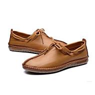 baratos Sapatos Masculinos-Homens Sapatos Confortáveis Pele Primavera Verão Casual Mocassins e Slip-Ons Castanho Escuro / Khaki