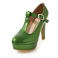 baratos Sapatos Femininos-Mulheres Sapatos Couro Ecológico Primavera Verão Tira em T Saltos Salto Agulha Ponta Redonda Laranja / Rosa claro / Verde Escuro / Festas & Noite