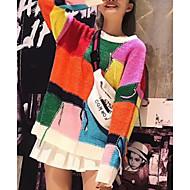 Per donna Quotidiano Monocolore Manica lunga Largo Standard Pullover, Rotonda Arcobaleno Taglia unica