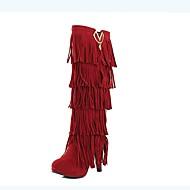 للمرأة أحذية PU خريف & شتاء جزمات موضة كتب كعب متوسط أمام الحذاء على شكل دائري جزمات طول الركبة شرابة أصفر / بني / أحمر