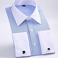 פסים צווארון קלאסי בסיסי חולצה - בגדי ריקוד גברים / שרוול ארוך