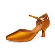 billige Moderne sko-Dame Moderne sko Sateng Høye hæler Kubansk hæl Dansesko Svart / Brun