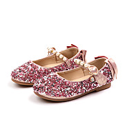 cheap Flower Girl Shoes-Girls' Shoes PU(Polyurethane) Spring &  Fall / Spring & Summer Comfort / Flower Girl Shoes Flats Walking Shoes Sequin / Imitation Pearl / Buckle for Kids Gold / Silver / Pink