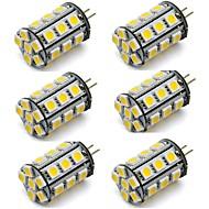 billige Bi-pin lamper med LED-6pcs 2 W 270 lm G4 LED-lamper med G-sokkel 24 LED perler SMD 5050 Dekorativ Varm hvit / Kjølig hvit 12 V