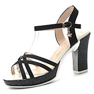 baratos Sapatos Femininos-Mulheres Couro Ecológico Primavera Verão Tira no Tornozelo Sandálias Salto Robusto Presilha Dourado / Preto / Prateado