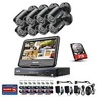 billige DVR-Sett-sannce® 8ch 8pcs 720p vanntett overvåkningssikkerhetssystem med 4in1 1080p innebygd lcd dvr monitor støttet tvi analog ahd ip kameraer med 1 tb hd