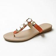 baratos Sapatos Femininos-Mulheres Sapatos Pele Napa Primavera Verão Conforto Chinelos e flip-flops Sem Salto Branco / Preto / Laranja