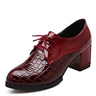 cheap Women's Oxfords-Women's Shoes PU(Polyurethane) Spring / Summer Comfort Oxfords Chunky Heel Closed Toe White / Black / Wine