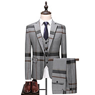 Men's Party / Daily Spring &  Fall Plus Size Regular Suits, Color Block Peaked Lapel Long Sleeve Cotton / Polyester Gray 54 / 56 / 58