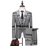 Miesten Party / Päivittäin 봄 & Syksy Pluskoko Normaali Suits, Color Block Pystykäänne Pitkähihainen Puuvilla / Polyesteri Harmaa 54 / 56 / 58