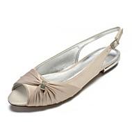 baratos Sapatos Femininos-Mulheres Sapatos Cetim Primavera Conforto / Chanel Sapatos De Casamento Sem Salto Peep Toe Pedrarias / Drapeado Lateral Azul / Champanhe / Ivory / Festas & Noite